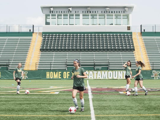 The UVM women's soccer team practices at Virtue Field on Thursday afternoon in Burlington.