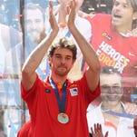 Pau Gasol celebrates after winning the FIBA Eurobasket 2015 at Callao's Square in Madrid, Spain over the weekend.