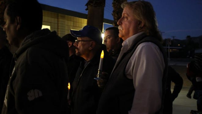 A vigil held in Desert Hot Springs' Tedesco Park on Dec. 18 prayed for the victims of violent crime and hoped for a brighter future.