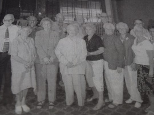 The Sturgis class of 1944 reunited in August 2007. Pictured front row from left are, Ann Stevenson Dawers, Doye Hinton Steele, Doris Jean Dennis Whitney, Marianna Stodghill Siegfried, Beulah Markham Brown, Eulak Markham Vaughn, Atha Day Jones, Virginia Rushing Swope. Second row, James Vancleve, Curt Tucker, Troy Shields, David Bredenkamp, Billy Omer, and Bobby Baird.