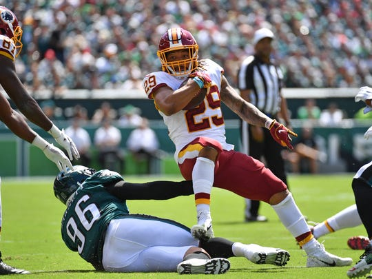 Sep 8, 2019; Philadelphia, PA, USA; Washington Redskins running back Derrius Guice (29) is tackled by Philadelphia Eagles defensive end Derek Barnett (96) during the first quarter at Lincoln Financial Field. Mandatory Credit: Eric Hartline-USA TODAY Sports
