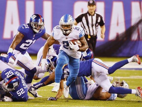 Lions running back Ameer Abdullah had 17 carries for 86 yards on Monday night.
