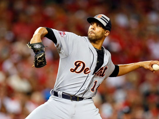 Jul 14, 2015; Cincinnati, OH, USA; American League pitcher David Price (14) of the Detroit Tigers throws against the National League during the fourth inning of the 2015 MLB All Star Game at Great American Ball Park.