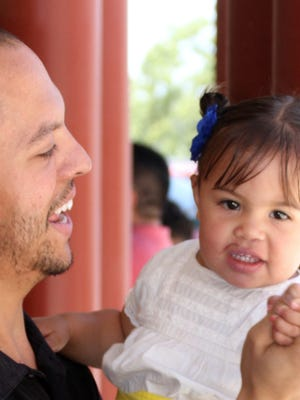 Ryan Gonzales enjoyed his Father's Day on Sunday dancing with his darling daughter 17-month-old Julianna.