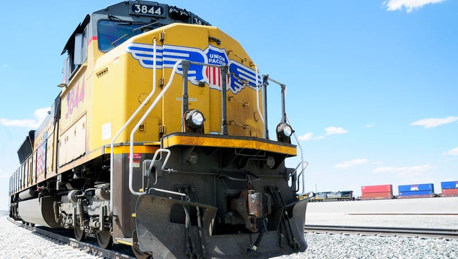 A road engine sits on the tracks at the Union Pacific train complex in Santa Teresa.