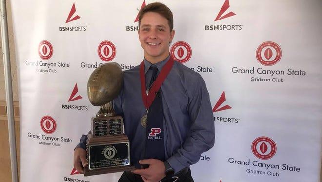 Gilbert Perry senior quarterback Brock Purdy with the Ed Doherty Award.