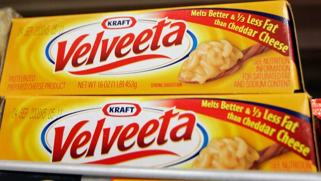 Kraft Foods' Velveeta cheese is displayed at J. J. & F. Market in Palo Alto, Calif..