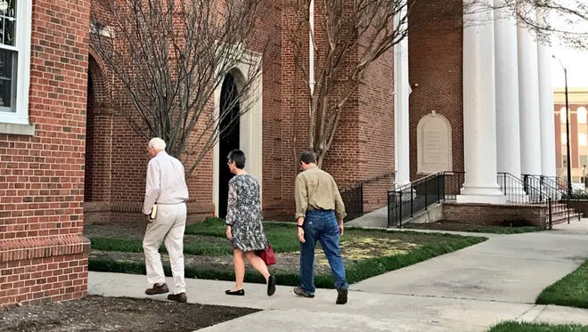 First Baptist members walk into the church for a weekly Bible study in Spartanburg Wednesday. The Rev. Billy Graham was a a member at First Baptist.