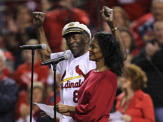 Singer Chuck Berry and his daughter Ingrid perform the national Anthem prior to the St. Louis Cardinals hosting the Milwaukee Brewers during Game Five of the National League Championship Series at Busch Stadium on October 14, 2011 in St Louis, Missouri.