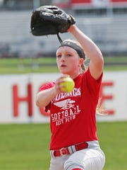 Sheboygan South's Kourtney Mangan pitches Wednesday May, 3, 2017, at South's softball complex.