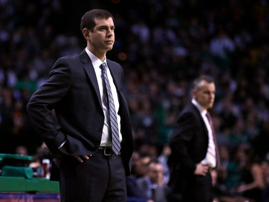 Boston Celtics coach Brad Stevens, left, and Oklahoma City coach Billy Donovan were both previously successful college coaches at Butler and Florida, respectively. They'd be on any dream short list if the MSU job became available, just as they'll likely get a phone call about Michigan's opening.