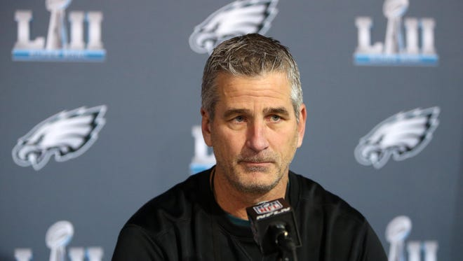 Philadelphia Eagles offensive coordinator Frank Reich during a press conference in advance of Super Bowl LII against the New England Patriots at Mall of America.