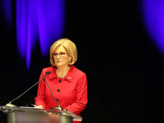 Diane Black prior to the West Tennessee Gubernatorial Debate at the Halloran Center in Memphis on Wednesday.