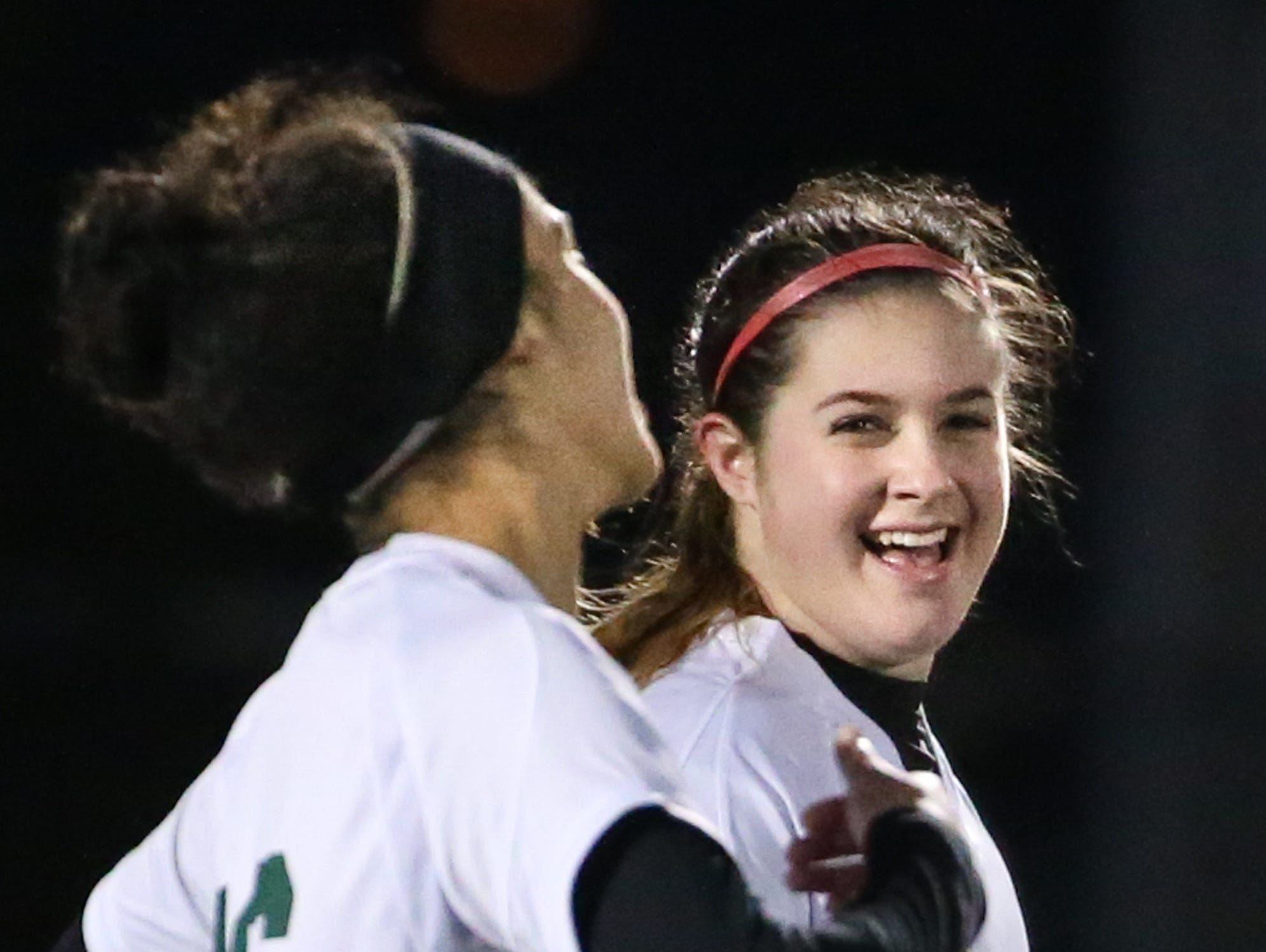 Karli Kumbalek (24) is all smiles after scoring a goal in last Tuesday's game against Beaver Dam.
