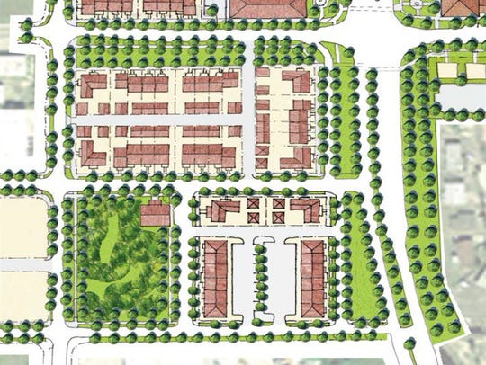 A 2006 conceptual layout of Towles Garden shows only