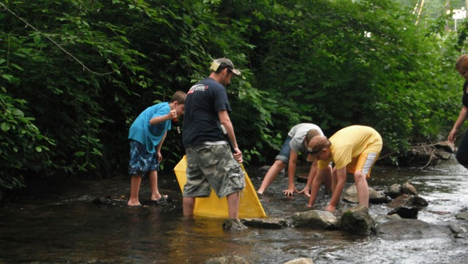 Members of the 4-H Conservation Club collect aquatic life for a scientific study at Caledonia State Park.