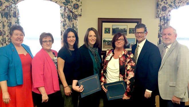 The Lebanon County commissioners recently honored representatives of the nursing profession from local hospitals,  by declaring May 6-12 Nurses Week. Pictured, from left, are Commissioner Jo Ellen Litz; Bonnie Pietruch, WellSpan Good Samaritan nursing services director; Marlisa Thomas and Heather Shirk, nurse managers at WellSpan Philhaven; Nancy Elliott, a geriatric resource nurse at the Lebanon VA Medical Center; Commissioner Bob Phillips and Commissioner Bill Ames.