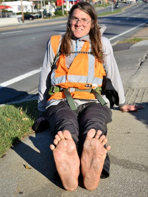 Callouses and fallen arches are some of the hazards that climate-change activist Mark Baumer had to live with in his barefoot walk across America. On Jan. 7, 2017, he walked through Tallahassee.