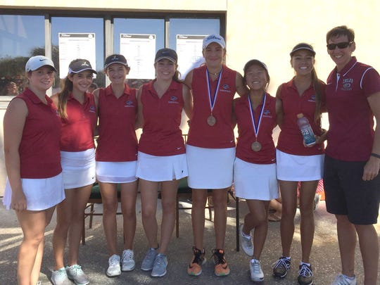 Chiles girls golf team advanced to the regional tournament with a second-place result at Tuesday's district tournament in Navarre. From left, Callie Newman, Michelle Gonzalez, Emily Gordon, Danielle Flowers, Mickela Helms, Alexia Pyun, Demi Harville and coach Amy Sherry.