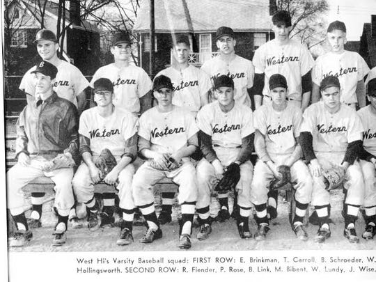 Pete Rose is second from left in the back row of this 1959 Western Hills High School baseball team photo.