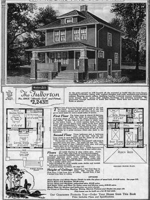 """Sears, Roebuck and Company sold everything including the roof over your head. Pictured is the plans for """"The Fullerton"""" style house."""