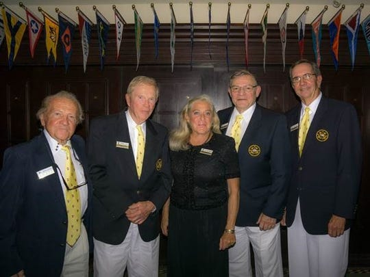 Past commodores of the Marco Island Yacht Club were honored at the Club's 15th anniversary party. From left, Don Mills, Frank Bricker, M.A. Harlacker, Bob DeFeo and current Commodore Randy Harris.