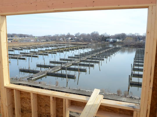 The view of the old Water Street Marina from the king suite room, Fri, April 3, at the site of a future Holiday Inn Express in Port Huron.
