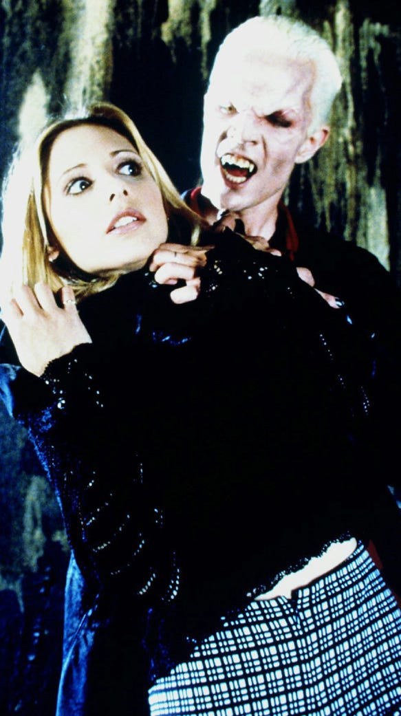 Buffy (Sarah Michelle Gellar) and Spike (James Marsters)