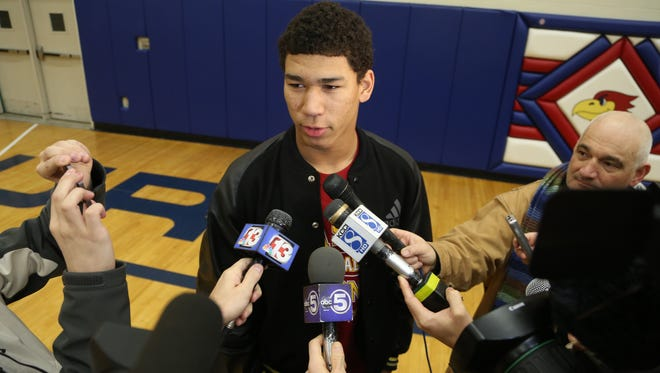 Urbandale High School senior Allen Lazard takes questions from the media at a mock-signing of his letter of intent to play football at Iowa State, seen here on Wednesday, Feb. 5, 2014, at Urbandale High in Urbandale, Iowa.