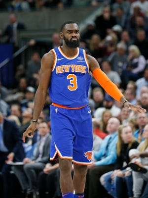 New York Knicks forward Tim Hardaway Jr. (3) celebrates after scoring a 3-pointer against the Utah Jazz during the second half of an NBA basketball game Friday, Jan. 19, 2018, in Salt Lake City.