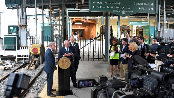 Sen. Robert Gordon, left, NJ Transit Executive Director Steven Santoro, and Sen. Steve Sweeney held a press conference Monday to tour the damage done by the Hoboken Terminal collision that occurred on Sept. 29, 2016. Sweeney and Gordon announced that all tracks except one will open for service by June.