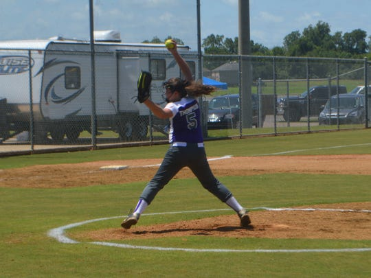 Alexandria Angel pitcher Claire Thompson fires a pitch in the Dixie Softball World Series Saturday at the Johnny Downs Sports Complex.