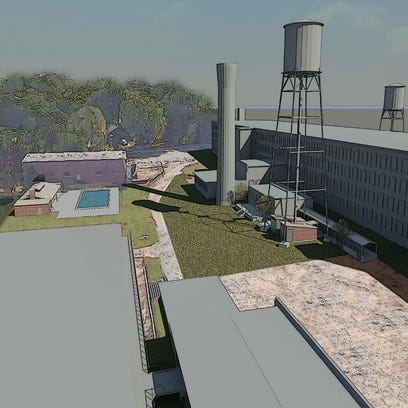 A rendering showing the Woodside Mill renovated into