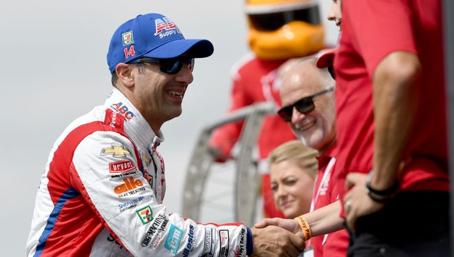Tony Kanaan (14) is introduced prior to the start of the IndyCar Firestone Grand Prix of St. Petersburg Sunday, March 11, 2018, in St. Petersburg, Fla.