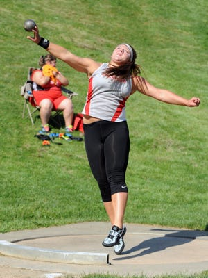 Sheridan's Emily Taylor competes in the shot put during the Division II Regional Track and Field Tournament on Thursday at Muskingum University in New Concord.