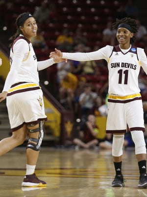 ASU's Peace Amukamara (11) celebrates at half with a big lead against New Mexico State during the first round of the NCAA Tournament at Wells Fargo Arena in Tempe, Ariz. on Friday, March 18, 2016.