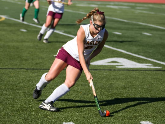 Leanne Bough controls the ball during Whitney Point's 1-0 field hockey victory over Section 8's Carle Place in the Class C state championship game Sunday at Maine-Endwell.