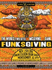 The third annual Funksgiving will be held Nov. 25, 2016, at the Union Station Train Shed in downtown Montgomery.