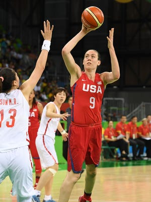 United States forward/center Breanna Stewart (9) shoots the ball ove rChina center Mengran Sun (13) during the women's preliminary round in the Rio 2016 Summer Olympic Games.