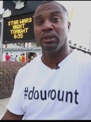 David Sadler, head of the #doucount campaign, held
