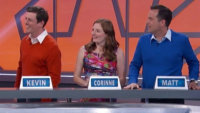 "South Lyon native Kevin Meoak (left) joined his wife Corinne and friend Matt on the GSN show ""America Says""."