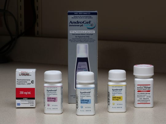 An assortment of hormone prescription medication.