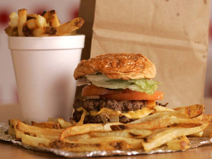 A meal from Five Guys Burgers and Fries.