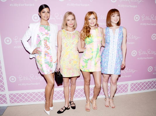 Model Camila Alves, from left, and actresses Kate Bosworth, Bella Thorne and Ellie Kemper attend the Lilly Pulitzer for Target launch event at the Bryant Park Grill on Wednesday, April 15, 2015, in New York. (Photo by Evan Agostini/Invision/AP)
