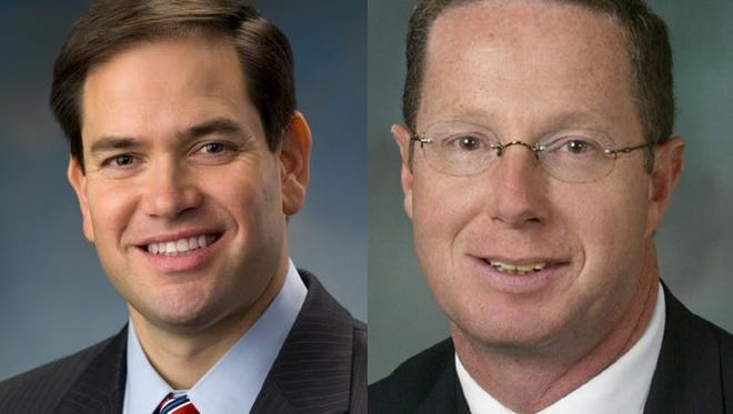 State Rep. Stan Saylor, right, endorses U.S. Sen. Marco Rubio, left, for president.