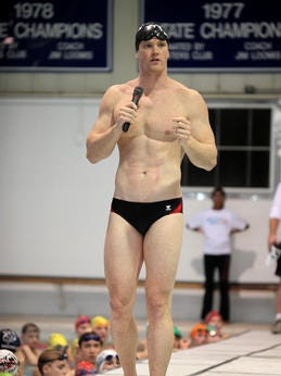 Josh Schneider, shown here at a 2013 swim clinic at St. Xavier, hopes to make the 2016 Olympic team.