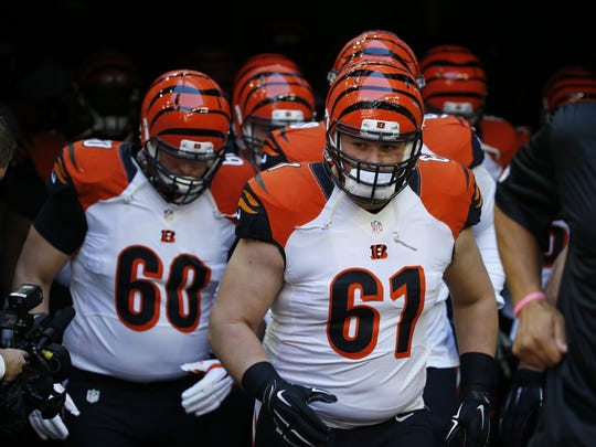 Cincinnati Bengals center Russell Bodine (61) was replaced by backup T.J. Johnson (60) for two series at Baltimore earlier this season.