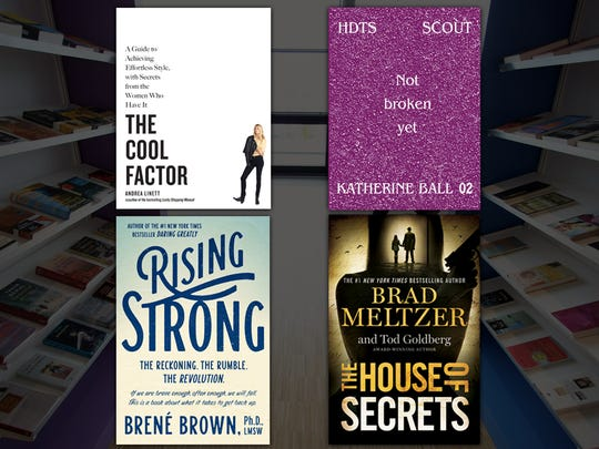 Clockwise from top left: The Cool Factor, Not Broken Yet, Rising Strong, The House of Secrets