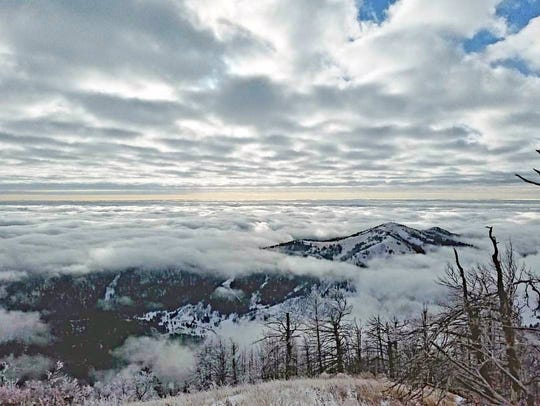 The view of the peaks of the Sacramento Mountain from