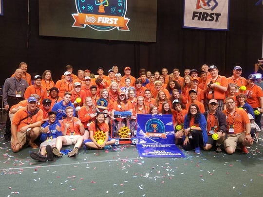 Team 862 from Plymouth-Canton worked with its alliance to win the first Festival of Champions.